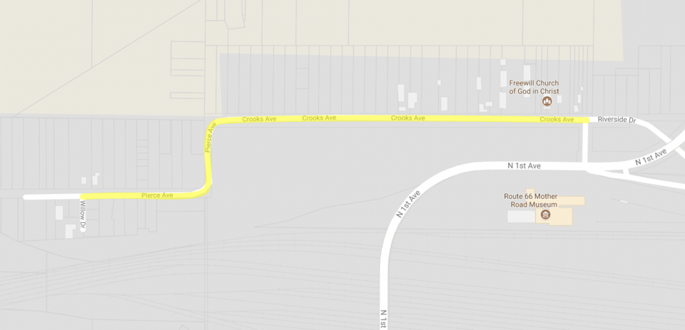 outline of Crooks Ave Barstow Project